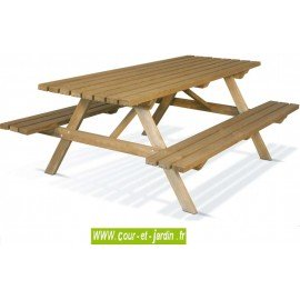 Table pique nique bois avec bancs intégrés - dans la catégorie : table de jardin avec banc s de Jardipolys -