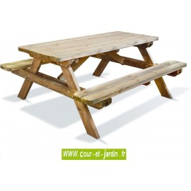 Table pique nique bois ROBUSTE 6 places -  Table avec banc  s de Jardipolys