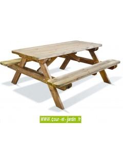 Table pique nique en bois  -  Cette table avec banc  s   de Jardipolys, ou table de pique nique bois est traitée autoclave