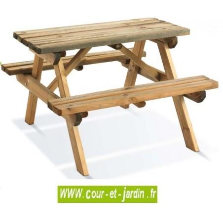 Table de pique nique bois WAPITI pour enfants - Table de jardin bois avec banc intégré