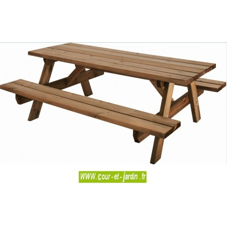 emejing table de jardin en bois avec banc integre photos. Black Bedroom Furniture Sets. Home Design Ideas