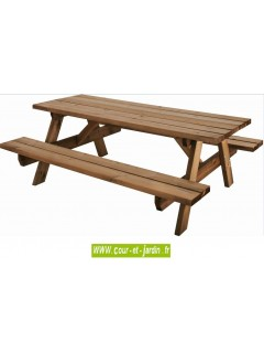 Table avec banc  s GARDEN 200B de 6 places - Table de jardin en bois avec banc integre
