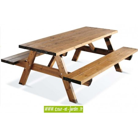 Table pique nique bois GARDEN 200B ou table forestière - de la série, table banc bois -