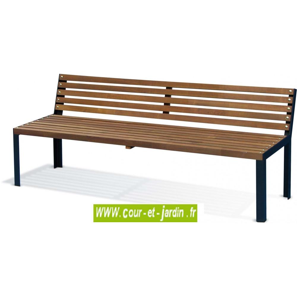 Banc de jardin en bois, et métal: Selekt banc avec dossier