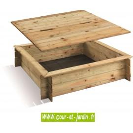Bac à sable carré en bois avec couvercle de protection