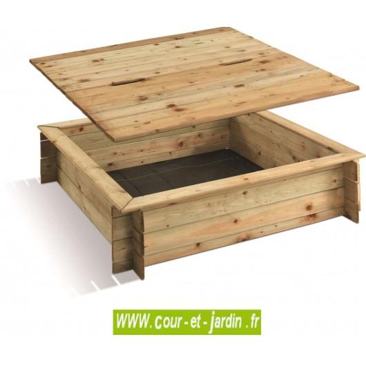 Bac sable carr en bois 120x120 cm couvercle cour et jardin for Carre potager en osier 120x120