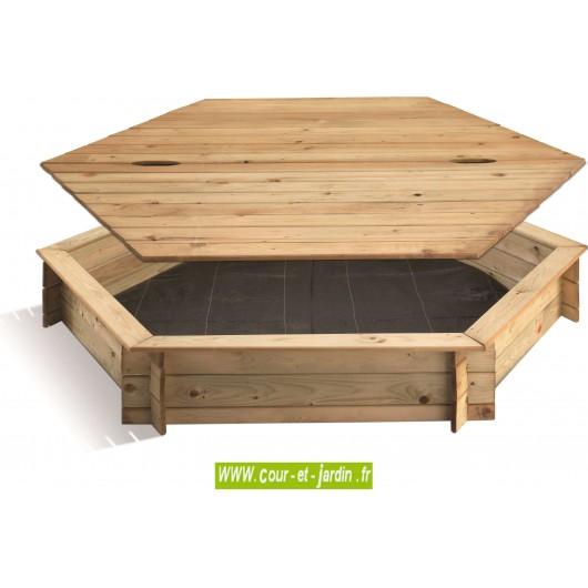 bdd732de63 Bac à sable hexagonal Ø 180 cm + couvercle - Cour et Jardin