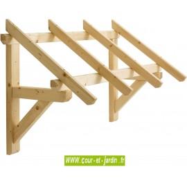 Auvent de porte Eco 1 pan en bois  Mar 1508 de 147cm