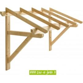 Auvent de porte en bois Eco 1 pan Mar 2010 de 205 cm de long. Marquise en bois