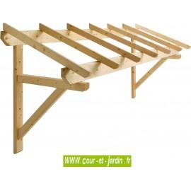 Auvent de porte d'entrée en bois ou auvent marquise Mar3110 en bois de 310 cm à 1 pan