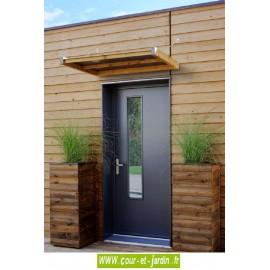 """Auvent de porte """"PLAA"""" en bois et toit composite - (marquise)"""