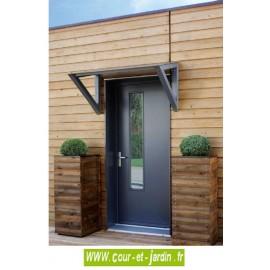 Auvent de porte INKLINE en bois et toit composite - marquise