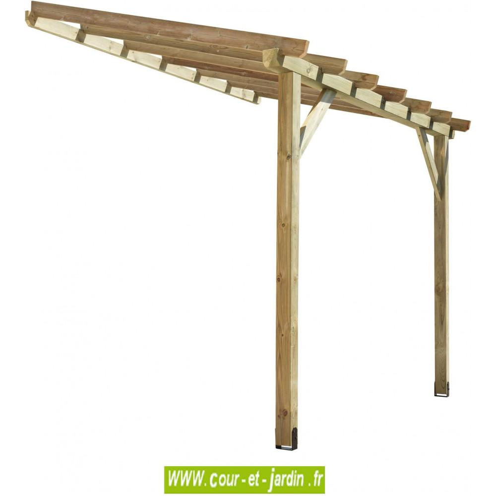 auvent bois abt3020 tonnelle adoss e de 3m x 2. Black Bedroom Furniture Sets. Home Design Ideas