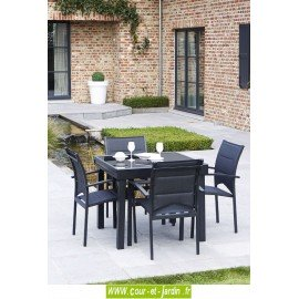 Salon de jardin MODULO 4 noir alu - textilène