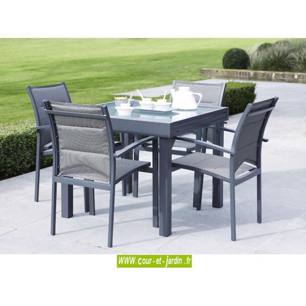 Salon de jardin aluminium petit salon de jardin design - Table jardin aluminium avec rallonge ...
