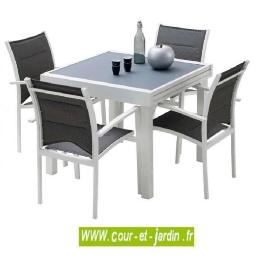 Salon jardin aluminium Modulo 4 blanc, 4 fauteuils avec textilène g...