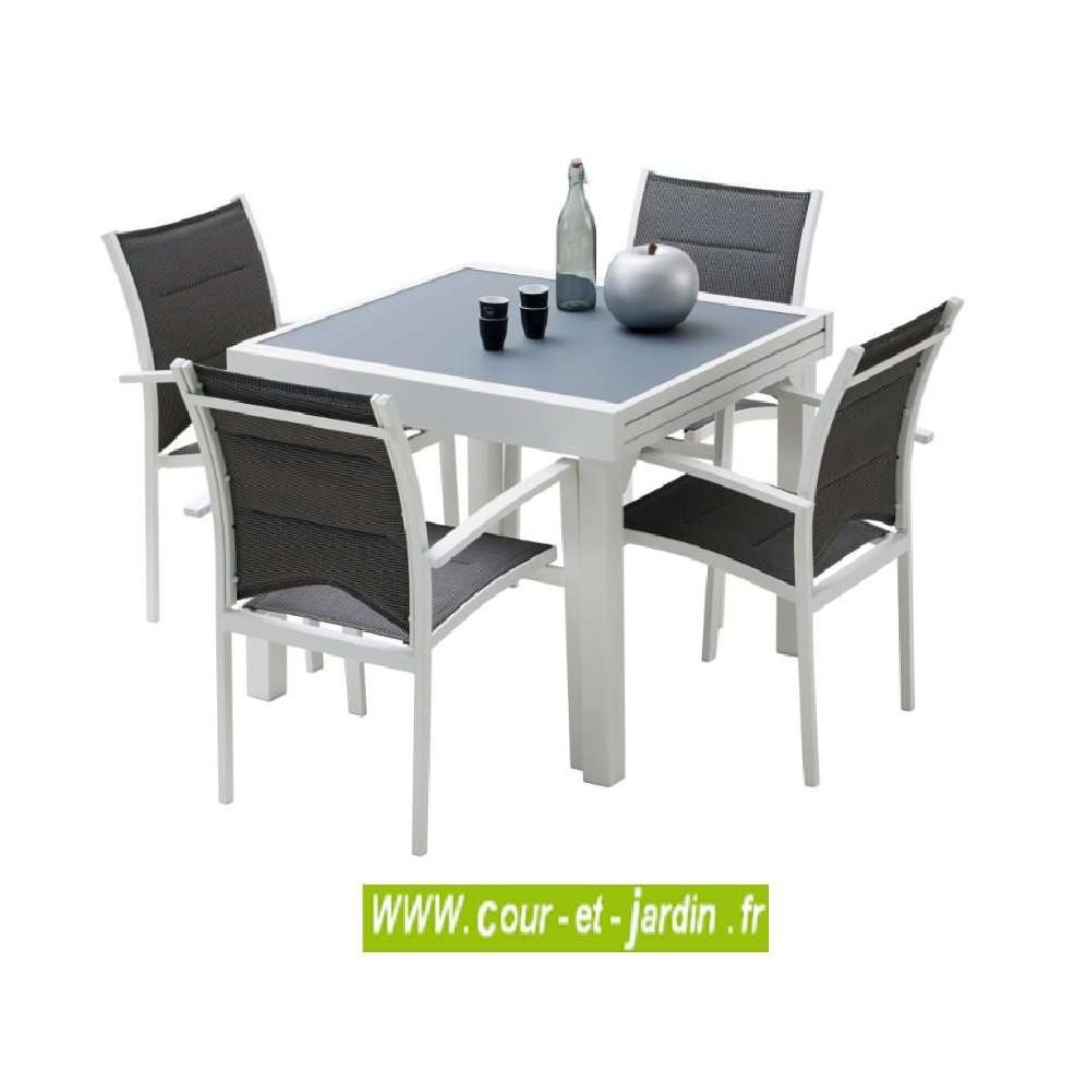 Salon jardin aluminium Modulo 4 blanc, 4 fauteuils avec ...
