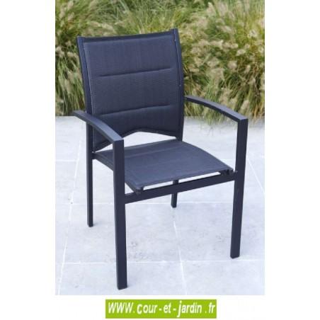 Fauteuil de jardin Modulo noir - alu textilène