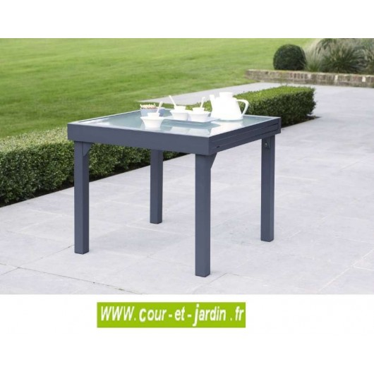 Table de jardin modulo 4 8 90 180 grise for Table jardin grise