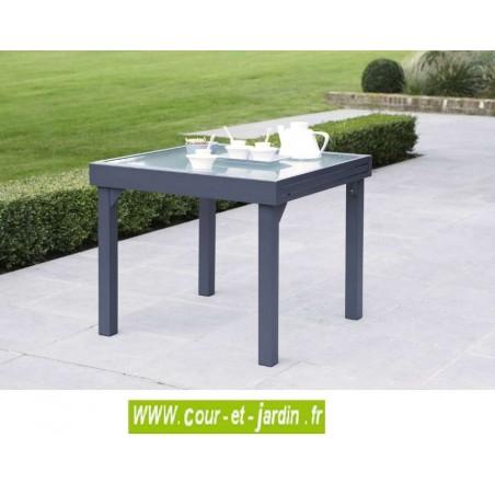 table de jardin modulo 4 8 90 180 grise. Black Bedroom Furniture Sets. Home Design Ideas