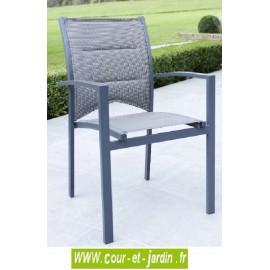 Fauteuil de jardin Modulo gris - alu textilène