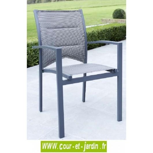 fauteuil de jardin modulo gris alu textil ne. Black Bedroom Furniture Sets. Home Design Ideas