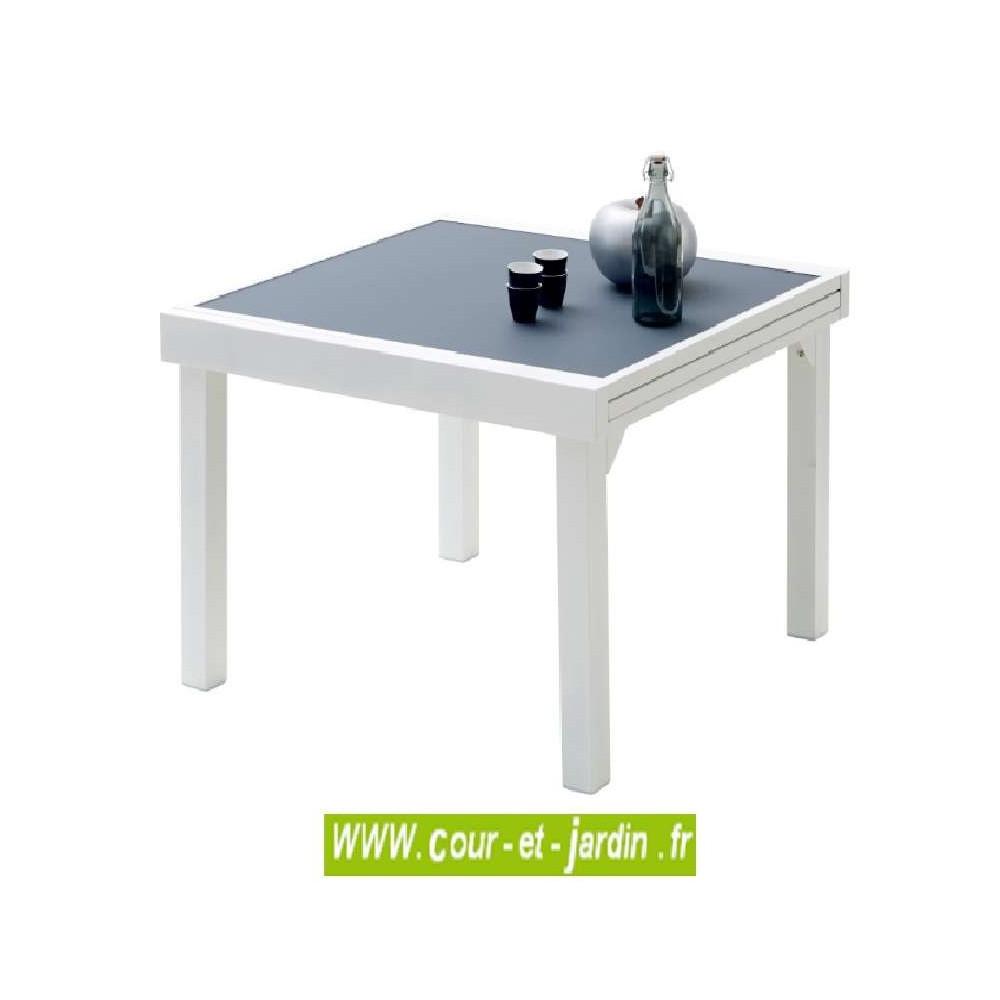 Table de jardin Modulo 4/8 - 90/180 gris perle - Cour et Jardin