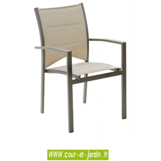 fauteuil de jardin modulo taupe alu textil ne. Black Bedroom Furniture Sets. Home Design Ideas