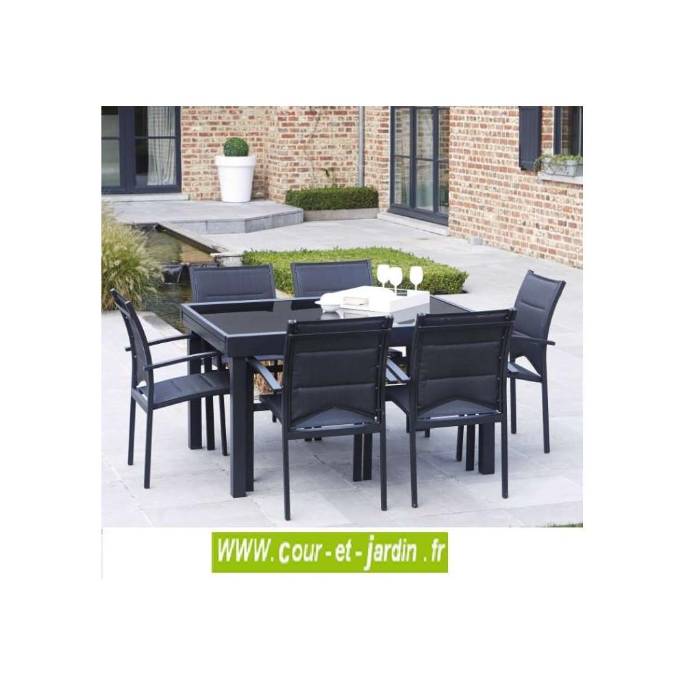 salon de jardin modulo 6 noir alu textil ne cour et jardin. Black Bedroom Furniture Sets. Home Design Ideas
