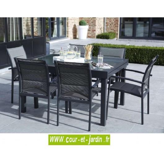 salon de jardin modulo 6 gris alu textil ne. Black Bedroom Furniture Sets. Home Design Ideas