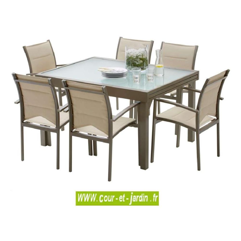 salon de jardin modulo 6 taupe alu textil ne cour et jardin. Black Bedroom Furniture Sets. Home Design Ideas
