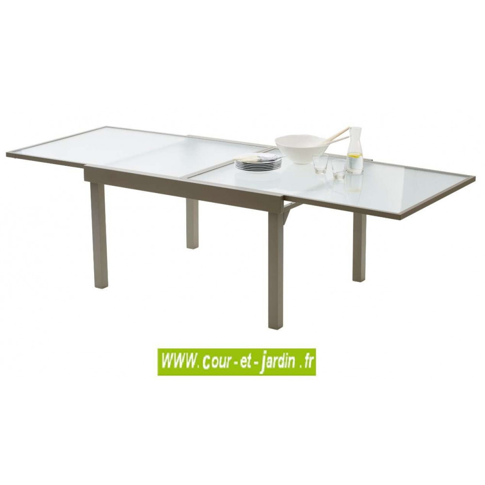 Table de jardin Modulo 6/10 p. taupe - MOBILIER DE JARDIN - Cour &...