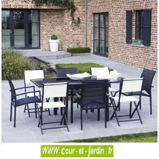 salon de jardin modulo 4 8 noir alu textil ne. Black Bedroom Furniture Sets. Home Design Ideas
