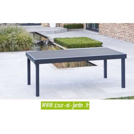 Table de jardin Modulo 8/12 noire-200/320