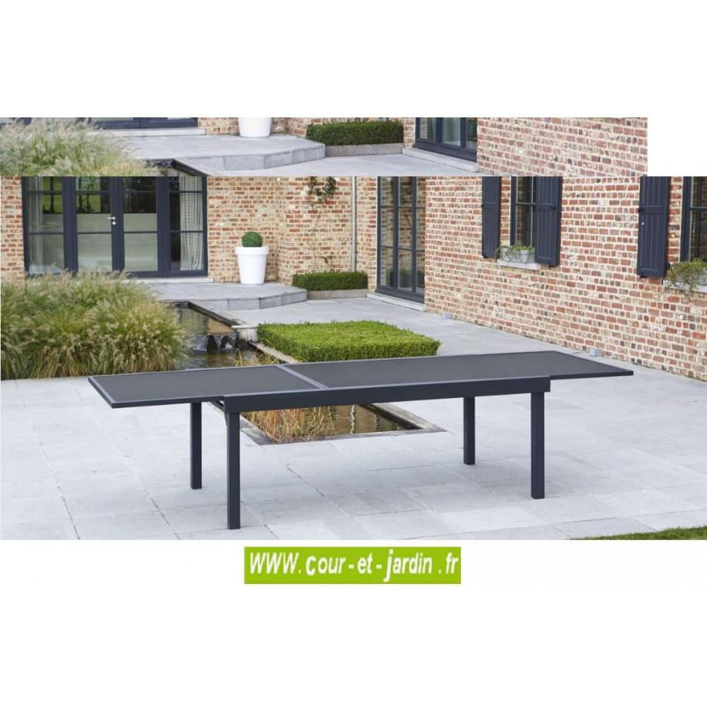 Table de jardin Modulo 8/12 noire-200/320 - Cour et Jardin