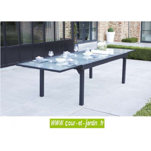 table de jardin modulo 8 12 grise 200 320 cour et jardin. Black Bedroom Furniture Sets. Home Design Ideas