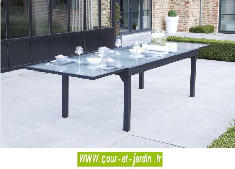 Table de jardin Modulo 8/12 p. grise - MOBILIER DE JARDIN - Cour &...