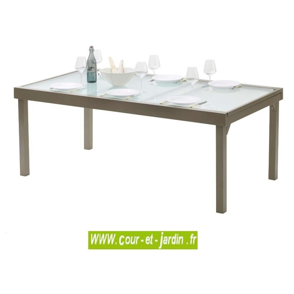 Table de jardin Modulo 8/12 p. taupe - MOBILIER DE JARDIN - Cour &...
