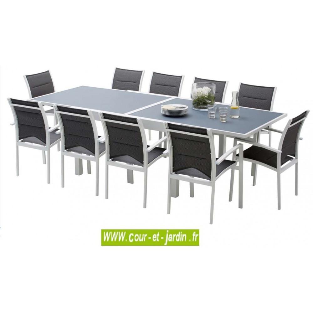 Salon de jardin modulo 6 10 gris perle alu textil ne cour et jardin - Salon de jardin 10 personnes aluminium ...