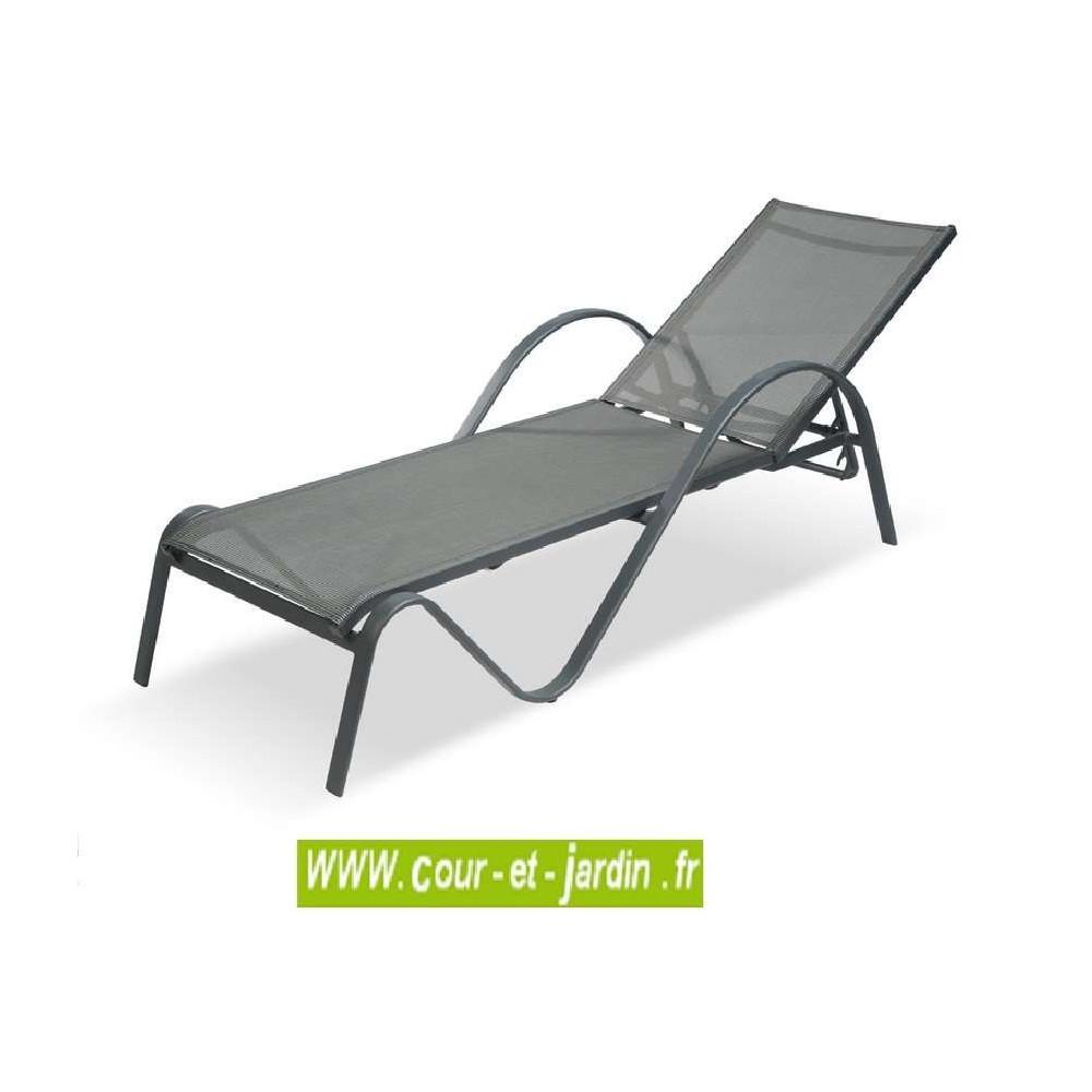 Nouvel Bain de soleil SUNSET alu / textilène gris anthracite - Cour et Jardin QH-41