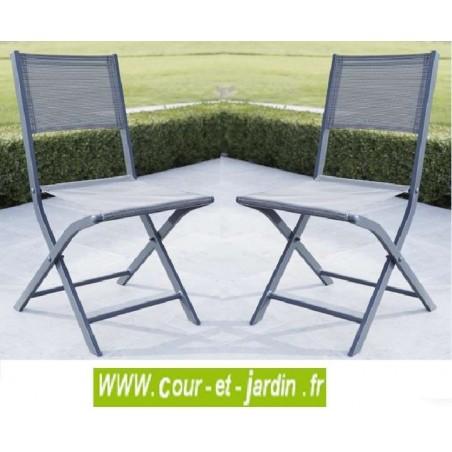 Lot 2 chaises pliantes MODULO grise - alu textilène