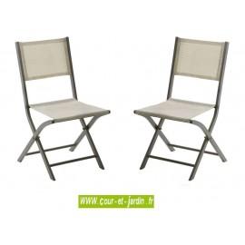Lot 2 chaises pliantes MODULO taupe - alu textilène