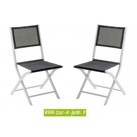 Lot 2 chaises pliantes MODULO gris perle - alu textilène