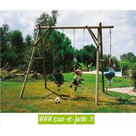 Portique bois 3 jeux  P203 (2 balançoires,1 corde à noeuds)