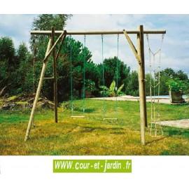 Portique bois 4 jeux  P204 (2 balançoires, 1 corde à noeuds, 1 échelle)