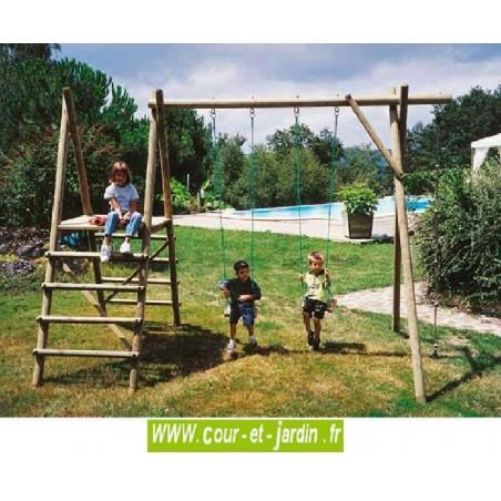 Portique bois 4 jeux P401 (2 balançoires + échelles bois et corde à noeuds)