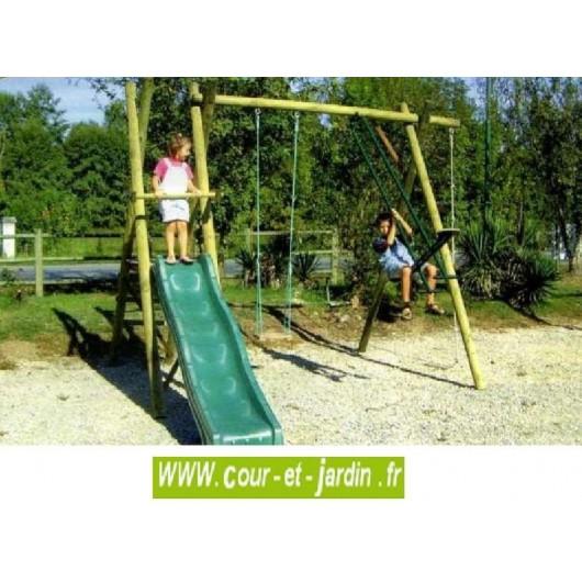 Portique bois 4 jeux P406 (balançoire, toboggan, vis-à-vis, corde à noeuds)