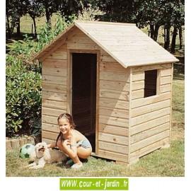 """Cabane enfants en bois """"MJ010"""" de 125cm x 100. Cette maison de jardin enfants est en bois traité"""