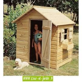 Maison de jeux pour enfants MJ011 de 125cmx100. Cette cabane de jardin enfants ou cabane enfant est en bois traité.