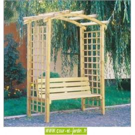 Pergola de jardin ARCADE en bois avec banc. Arche de jardin en bois
